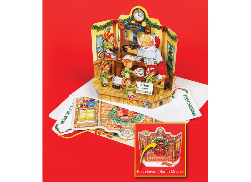 Santa's Print Shop Pop-Up Christmas Card Ornament by TFI Envision, Inc.