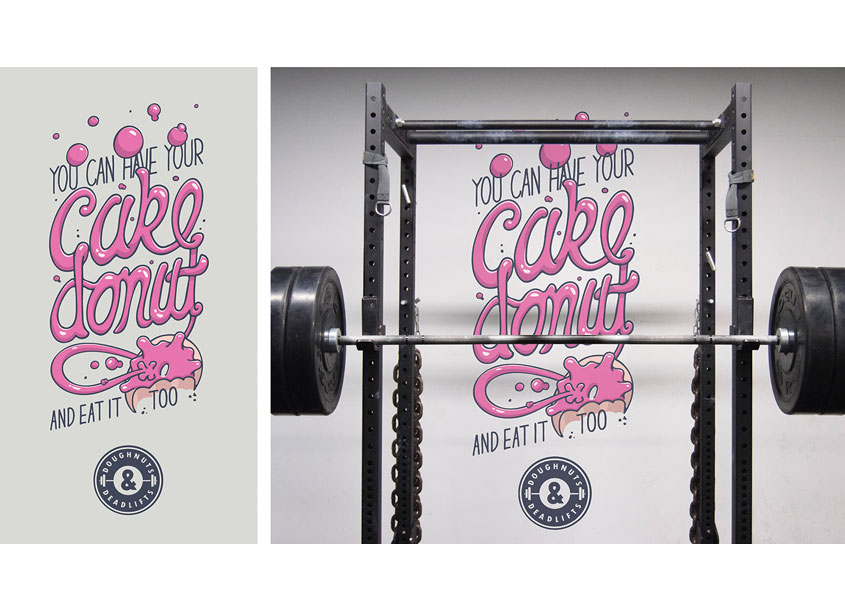 Doughnuts and Deadlifts Type Treatment by School of Advertising Art (SAA)