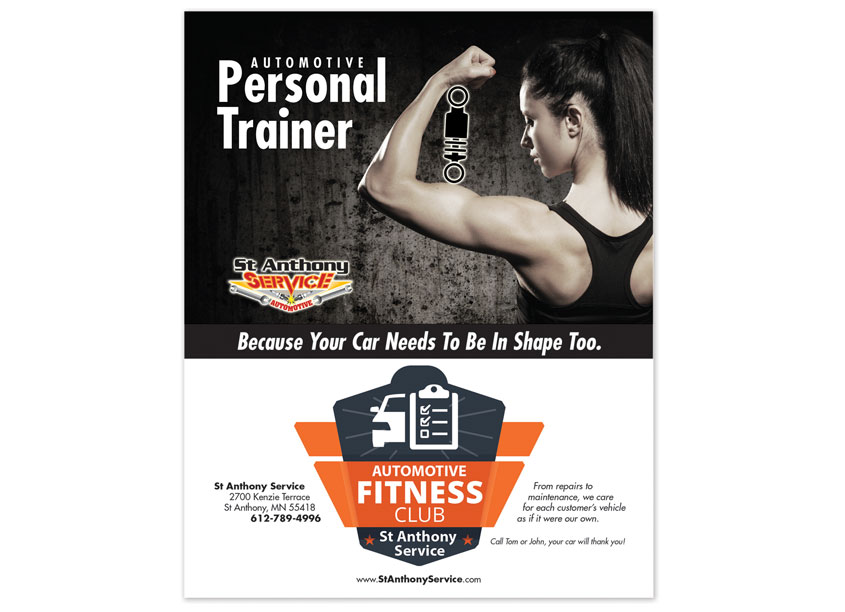 Automotive Personal Trainer Health Club Advertisement by Max Marketing Communications, Inc.