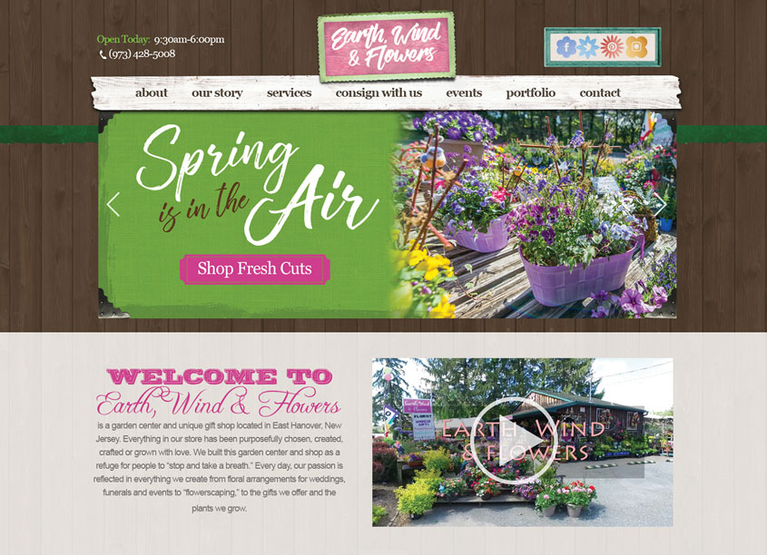 Paradigm Marketing and Design  Earth, Wind & Flowers Website