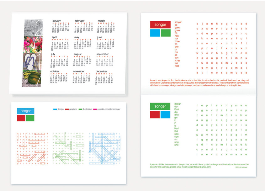 Calendar - Word Puzzle by Songer Design