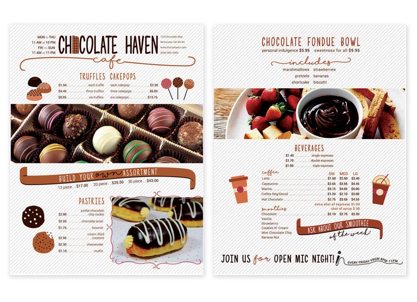 Chocolate Haven Restaurant Menu by Kennesaw State University