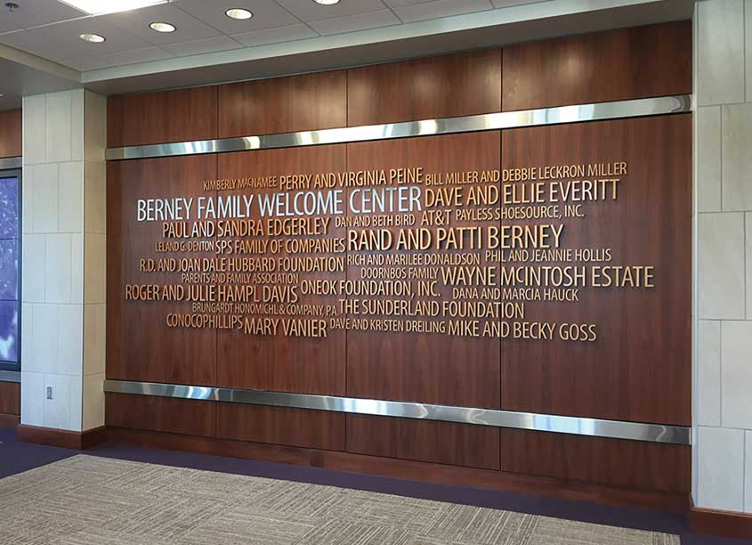 Michael Courtney Design  Berney Family Welcome Center Donor Recognition Wall