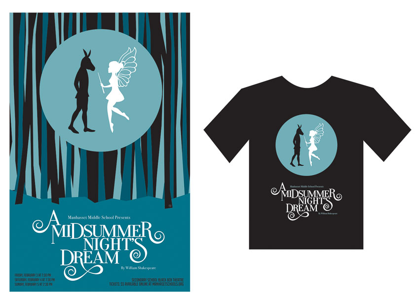 A Midsummer Night's Dream Poster + T-shirt Design by Rozina Design