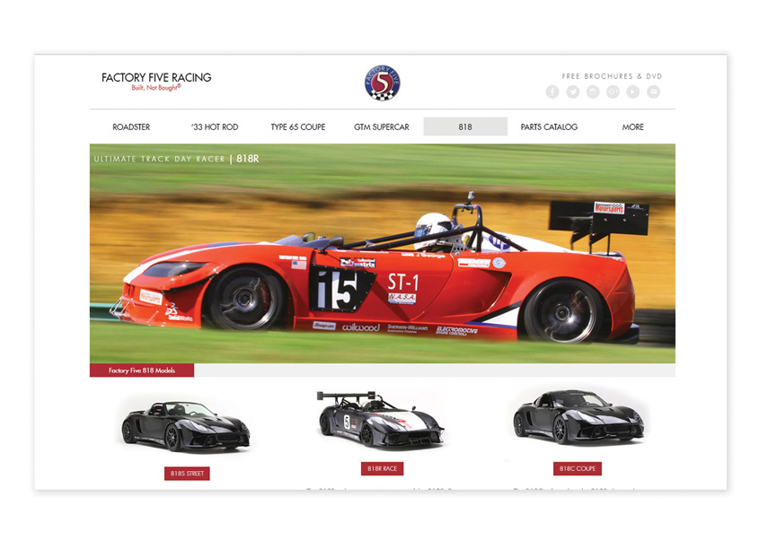 Factory Five Racing Website by Design Principles, Inc.