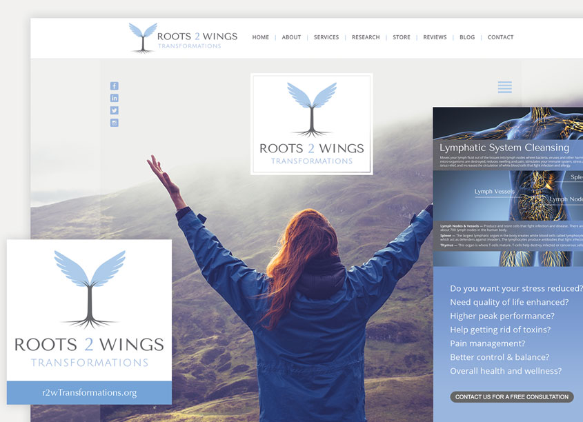 Clean Clear Creative  Roots 2 Wings Transformations Branding