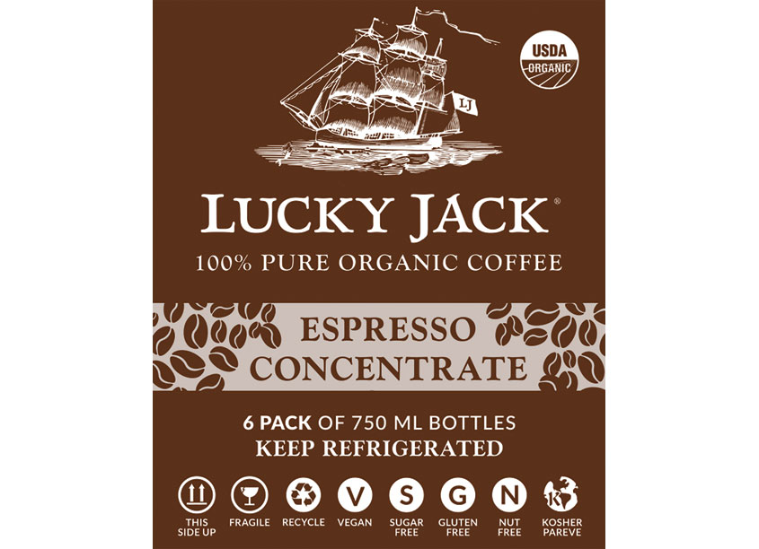 Lucky Jack Design Team  Lucky Jack Espresso Concentrate 6 Pack Carrier Proactive Packaging & Display