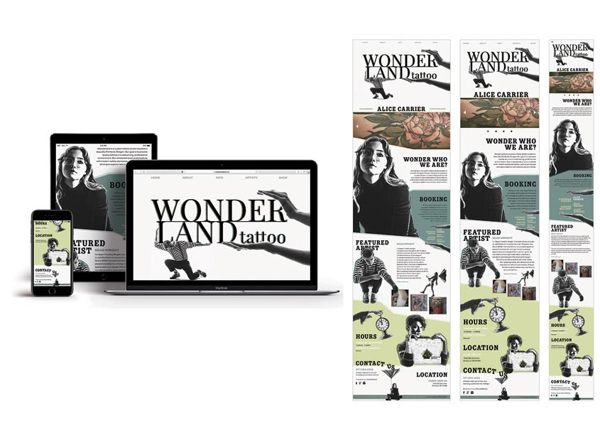Wonderland Tattoo Website by The Modern College of Design