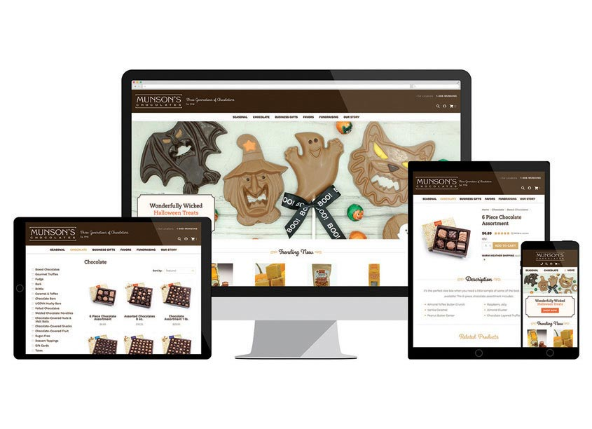 Munson's Chocolates Website by Web Solutions, Inc.
