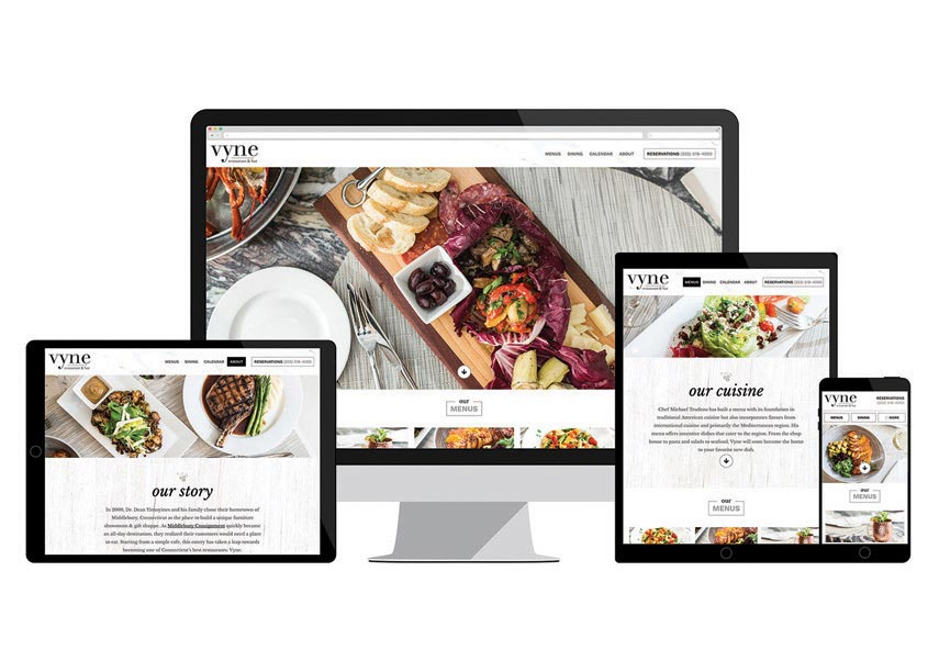Vyne Restaurant Website by Web Solutions, Inc.