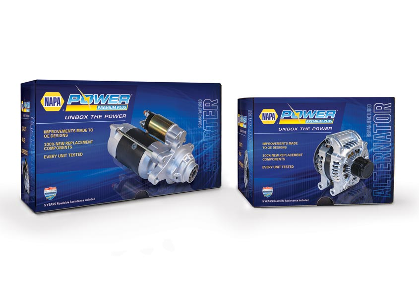 TFI Envision, Inc. NAPAr Power Premium Plus Trilingual Packaging For Alternators and Starters