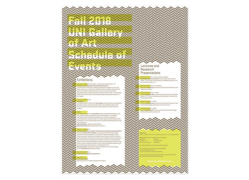 University of Northern Iowa (UNI) Department of Art Fall 2018 Gallery of Art Schedule of Events