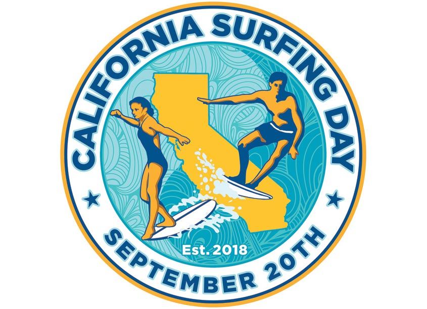 Official Emblem for California Surfing Day by Newton Design