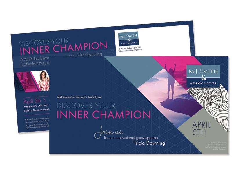 Inner Champion Event Invitation Mailer by Design Tree Studios