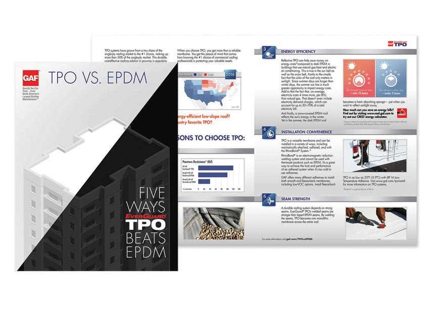 GAF/Creative Design Services TPO vs. EPDM Brochure