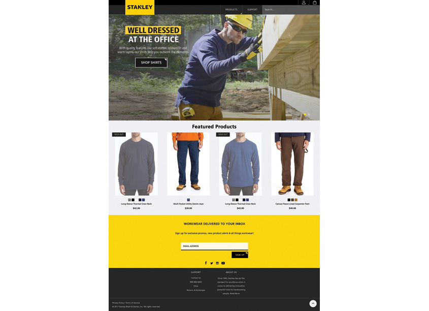 Randy Richards Design Stanley Workwear Website