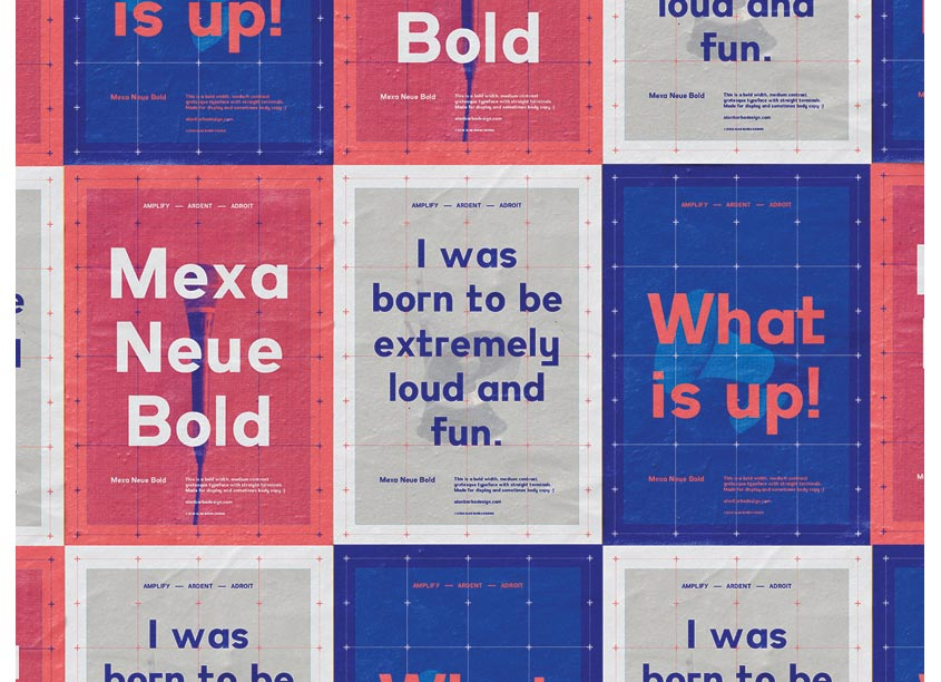 Mexa Neue Typeface Poster Series by Alan Barba Design