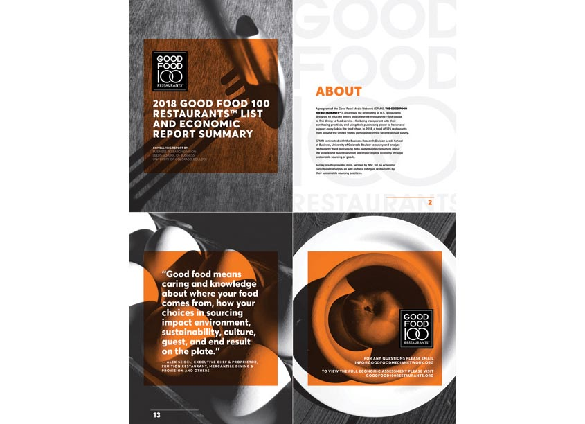 Good Food 100 Restaurants Summary Report Design by 80east Design