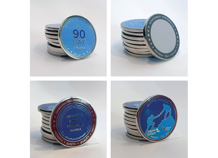 Layton & Aligned Energy Challenge Coins by Layton Construction Company