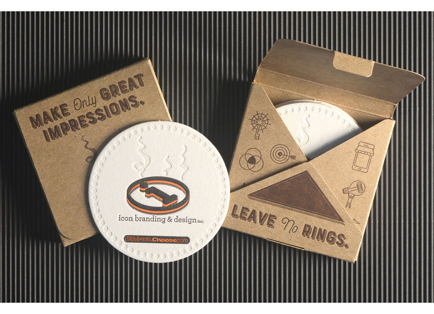 Leave No Rings Letterpress Beverage Coaster Set by Icon Branding & Design