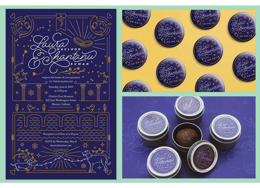 Laura and Shantanu Wedding Invite by Open Door Design Studio (ODDS)