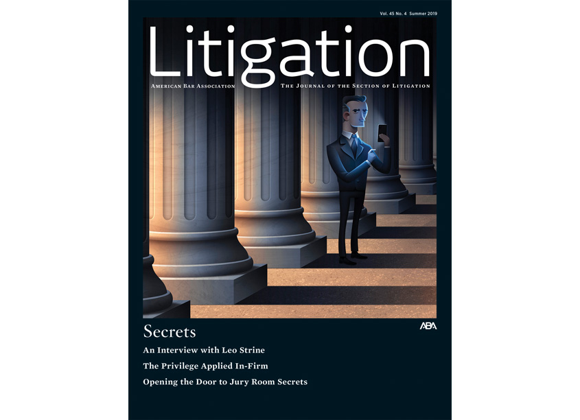 Litigation Magazine Cover, Secrets Illustration, Summer 2019 by American Bar Association