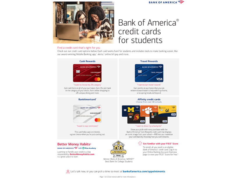 Student Credit Card Flyer by Bank of America, Enterprise Creative Solutions