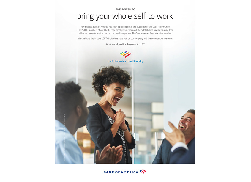 LGBT + Pride Employee Network Advertisement by Bank of America, Enterprise Creative Solutions