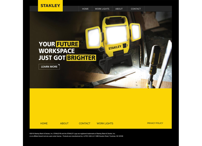 Stanley Work Lights Website by Randy Richards Design Group