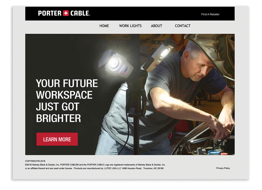 Porter Cable Work Lights Website by Randy Richards Design Group
