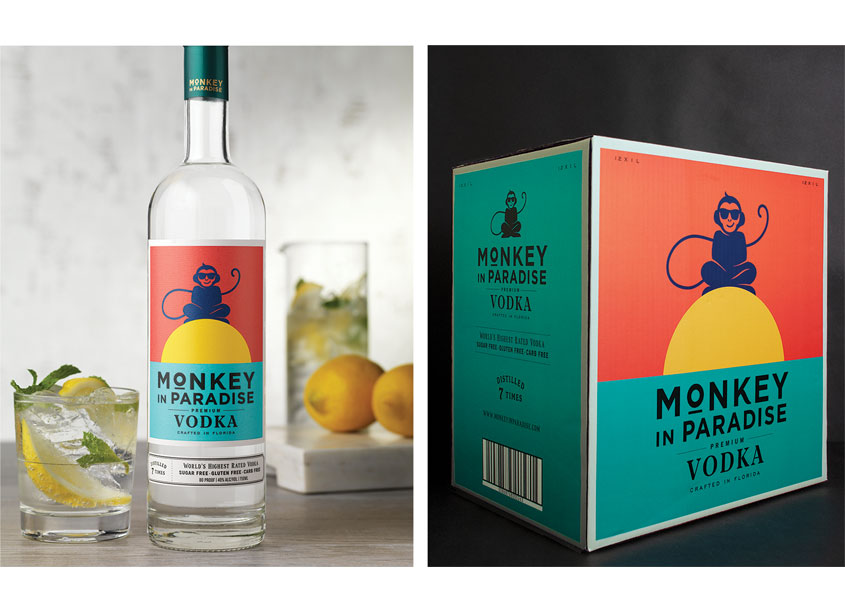 Monkey in Paradise Vodka Package Design by CF Napa Brand Design