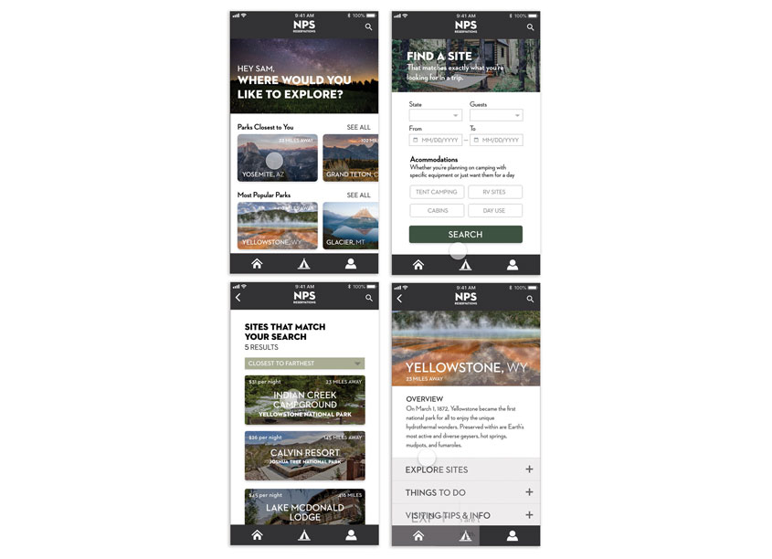 Woodbury University NPS (National Parks Service) App Design