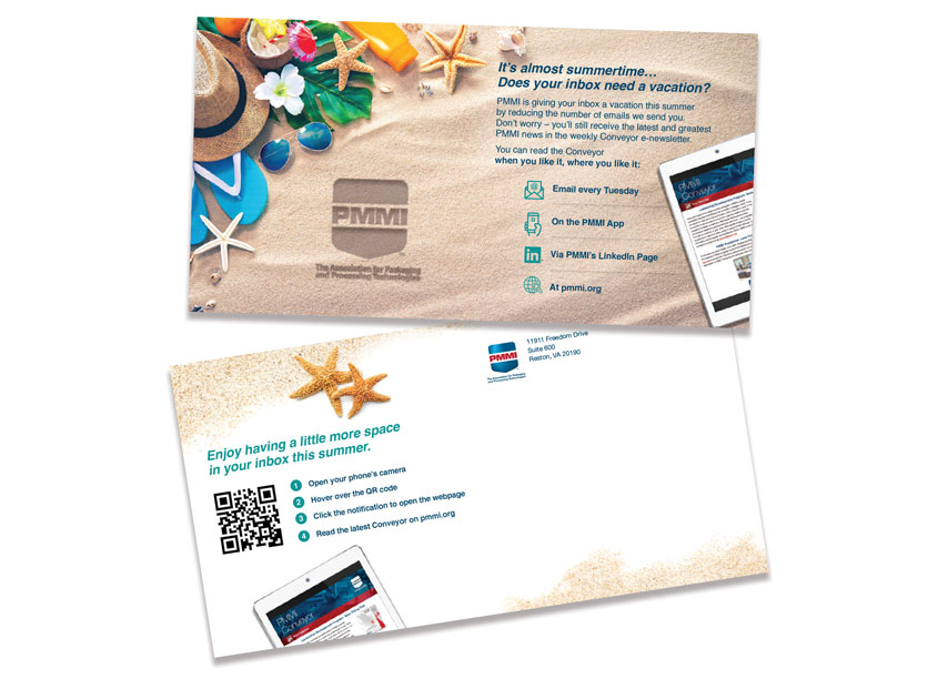PMMI, The Association for Packaging and Processing Technologies Summertime Email Vacation Direct Mailer