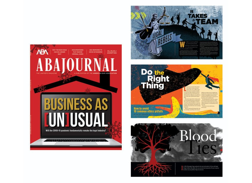ABA Journal Publication Design - Spreads and Covers by ABA Creative Group/American Bar Association