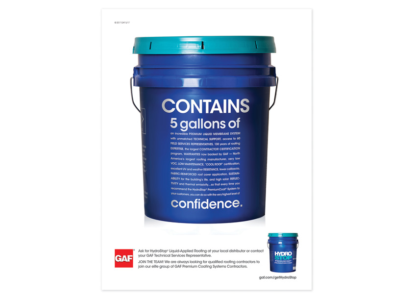 GAF Creative Design Services 5 Gallons of Confidence - GAF Hydrostop Advertising