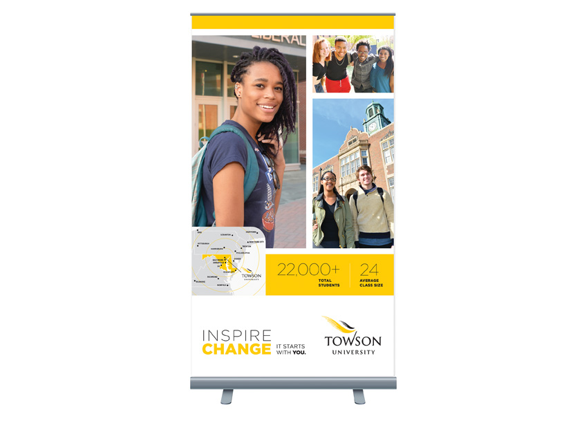 Towson University Creative Services Admissions Recruitment Pop-Up Banner