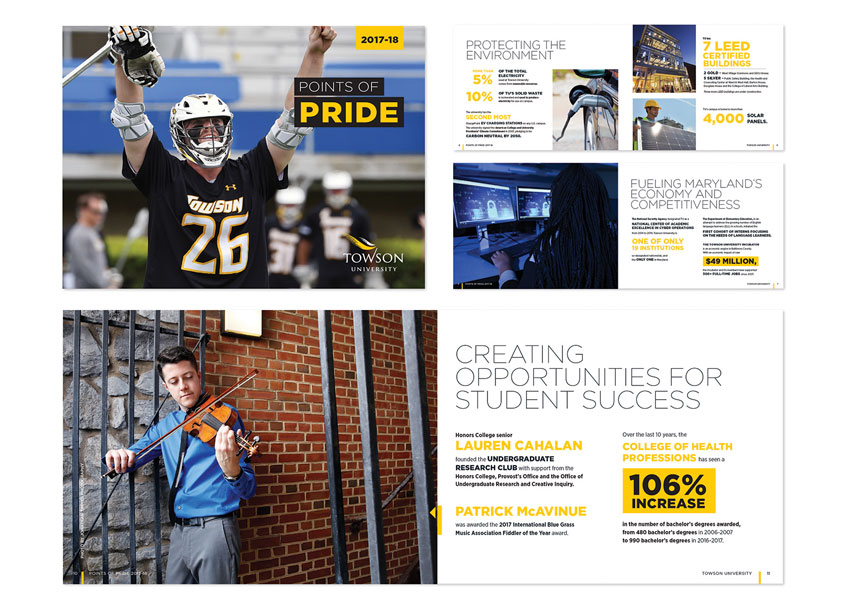 Towson University Creative Services Towson University Points of Pride Booklet