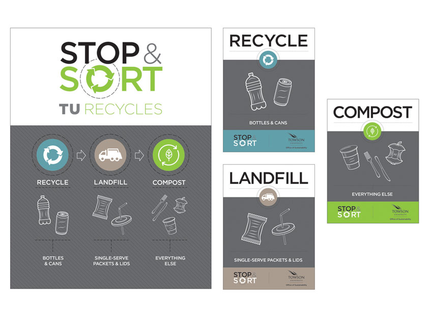 Towson University Creative Services Stop & Sort: TU Recycles Posters