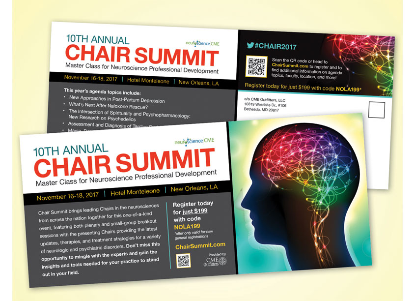 10th Annual Chair Summit - Master Class for Neuroscience Professional Development Postcard by CME Outfitters, LLC