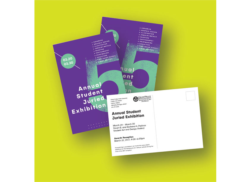 5th Annual Student Juried Exhibition Poster and Invitation by Grand Valley State University