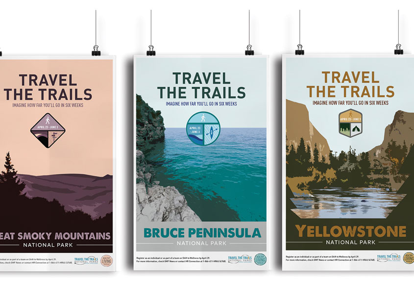 GM Financial Travel the Trails - Healthy Living Campaign Posters