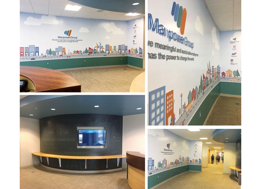 Headquarter Skywalk Entrance Surface Graphics by ManpowerGroup