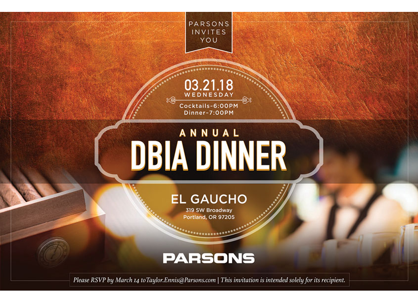 DBIA Dinner 2018 Evite by Parsons