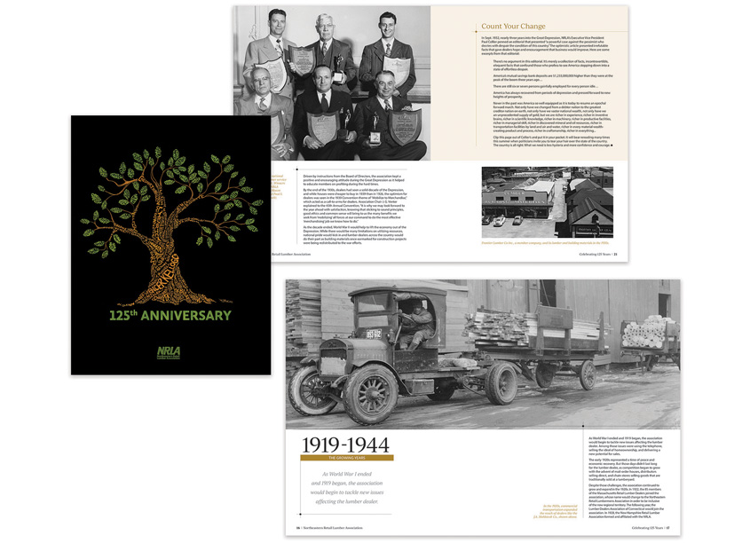 125th Anniversary Commemorative Publication Design and Cover Illustration by Northeastern Retail Lumber Association (NRLA)