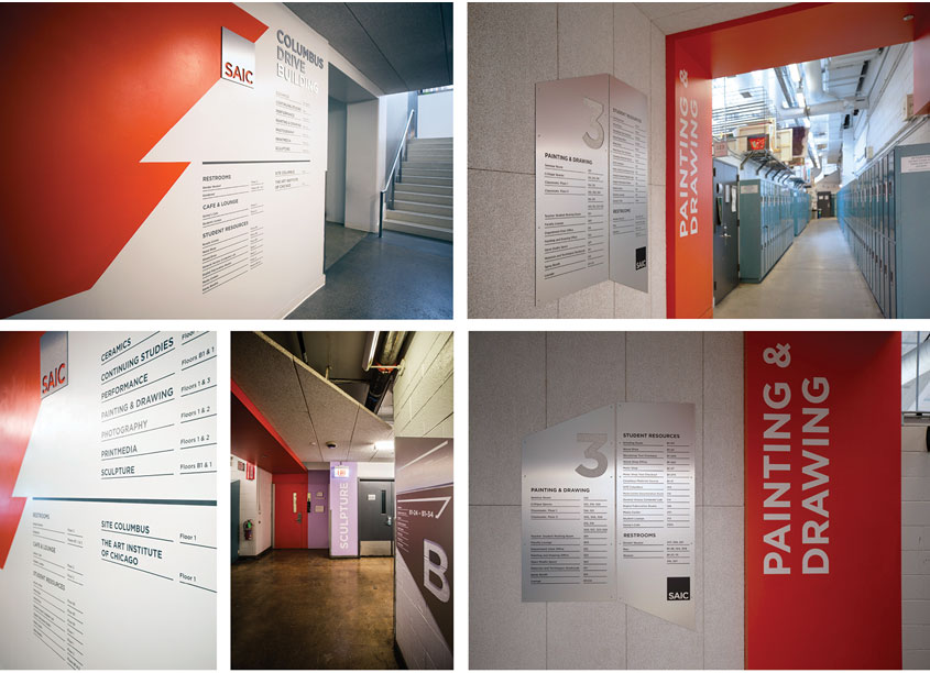 Columbus Drive Building Wayfinding System by School of the Art Institute of Chicago, IRFM Creative