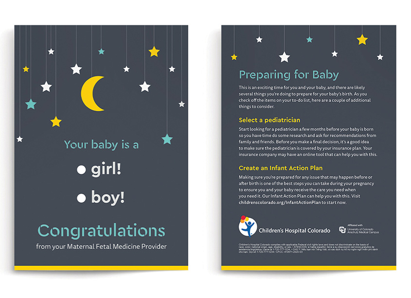 Gender Reveal Card by Children's Hospital Colorado