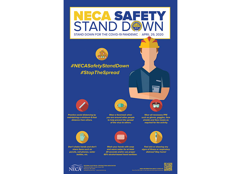 NECA Creative Services Safety Stand Down for COVID-19 Poster