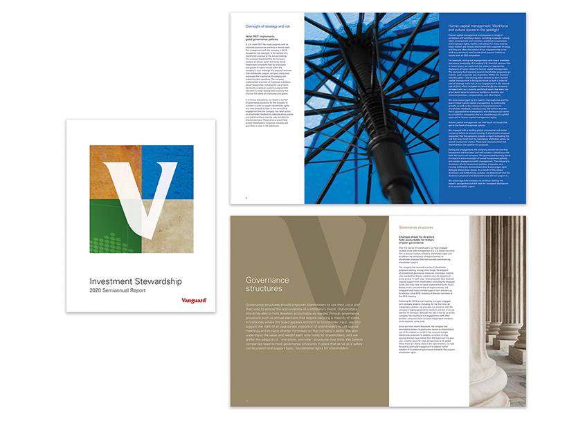 Investment Stewardship Semiannual Report 2020 by Vanguard, Corporate Communications Design