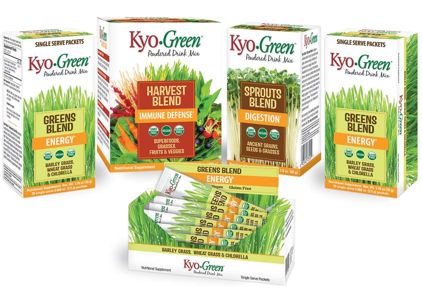 Kyo-Green Powdered Drink Mix Packaging by Babilon Arts, Inc.