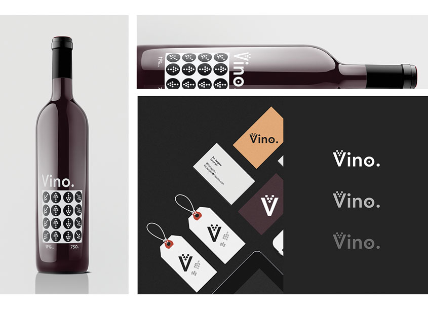 BlkMrkt Cr8tiv Labs Vino's Wine Label & Packaging Design